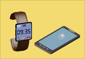 watch connected to smartphone, smartwatch, iwatch, vector 3d