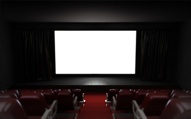 empty cinema auditorium with blank screen frame