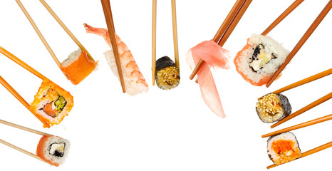 Collage of chopsticks with different food isolated on white