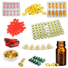 Collage of pills isolated on white
