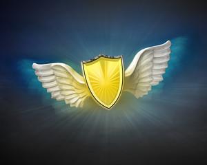 golden shield with angelic wings flight in dark sky