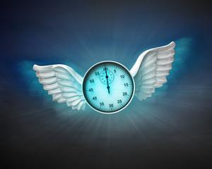 stopwatch with angelic wings flight in dark sky