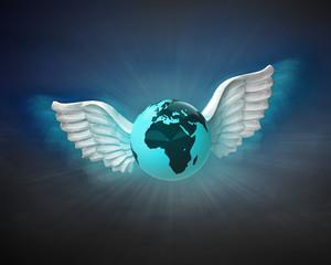 Africa earth globe with angelic wings flight in dark sky