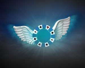 poker chip with angelic wings flight in dark sky