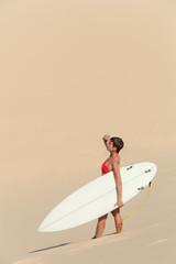 sexy beautiful young woman surfer girl in bikini