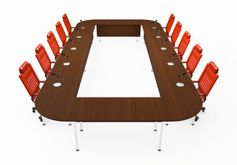 Round table for negotiations on white background