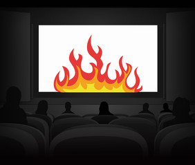 hell fire advertisement as cinema projection vector