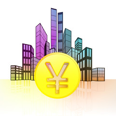 golden Yuan coin with colorful cityscape silhouette  vector