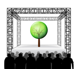 leafy tree nature on festival stage with spectators isolated