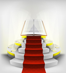 new book exhibition on round illuminated podium vector