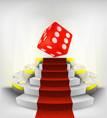 lucky red dice exhibition on round illuminated podium vector