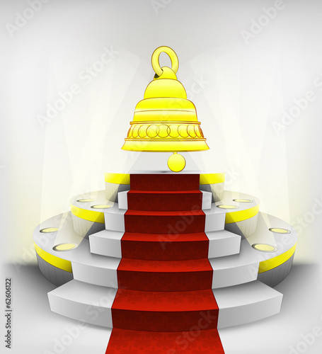golden ring invitation on round illuminated podium vector