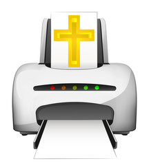holy printing device advertisement as vector concept