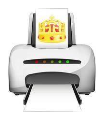 royal print device advertisement as vector concept