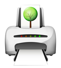 printed tree as ecological advertisement as vector concept