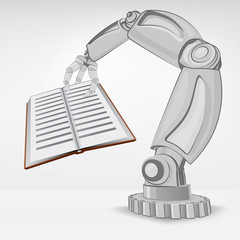 education book hold by automated robotic hand vector