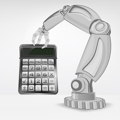 business calculator hold by automated robotic hand vector