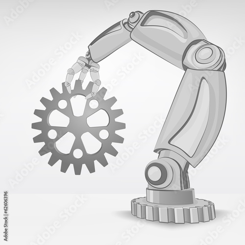 industrial spare part hold by automated robotic hand vector