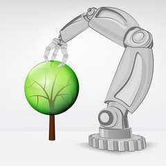 leafy tree nature hold by automated robotic hand vector
