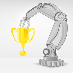 champion cup hold by automated robotic hand vector