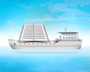 book on freighter deck transportation vector concept