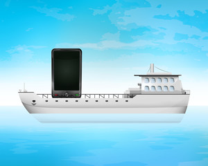 new smart phone on freighter deck transportation vector concept