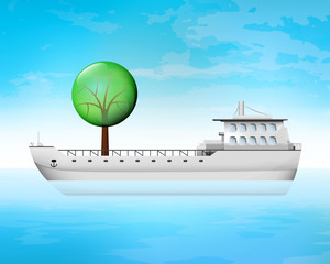 leafy tree on freighter deck as wood transportation vector