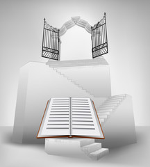 open book on stairway with entrance top concept vector