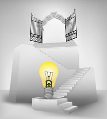 yellow bulb on stairway with entrance top concept vector