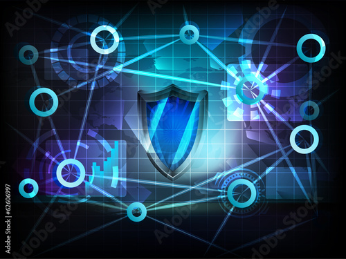 security shield in business world transfer network vector