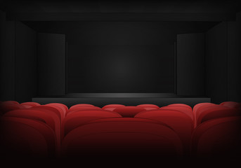 theater empty interior scene with red seats in auditorium vector