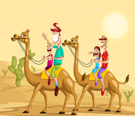 Happy family on camel ride