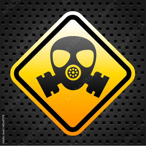 Warning sign with gas mask
