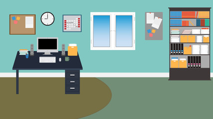 Vector Office Room with stuff.book,desk,com