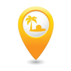 Map pointer with tropical beach icon