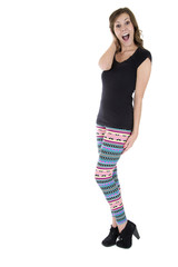 fun pose confident female model wearing colorful leggings and bl