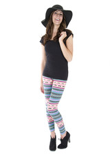 pretty female model wearing black hat and colorful leggings
