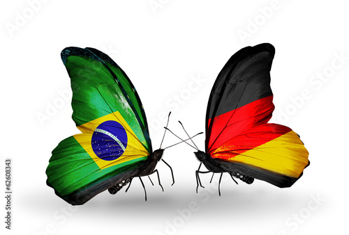 Two butterflies with flags Brazil and Germany