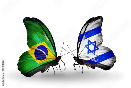 Two butterflies with flags Brazil and Israel