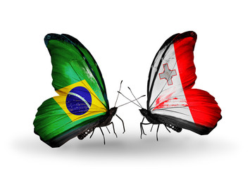 Two butterflies with flags Brazil and Malta