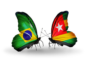 Two butterflies with flags Brazil and Togo