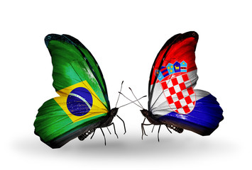 Two butterflies with flags Brazil and Croatia