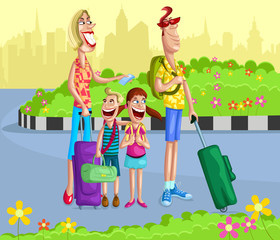 Happy family going for vacation
