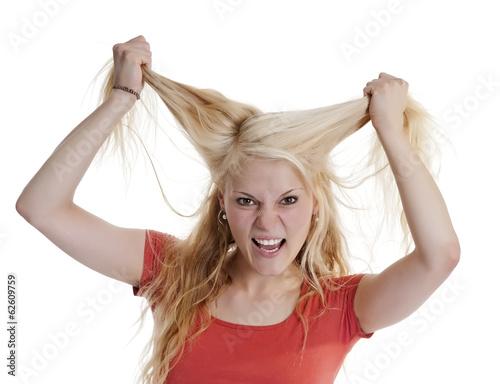 canvas print picture junge Frau rauft sich Haare