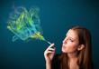 Pretty lady smoking cigarette with colorful smoke