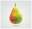 Geometric polygonal fruit, triangles, pear, vector