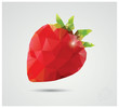 Geometric polygonal fruit, triangles, strawberry