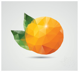 Geometric polygonal fruit, triangles, orange, vector