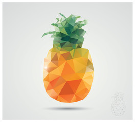 Geometric polygonal fruit, triangles, pineapple