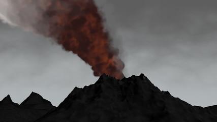 3D animation volcano eruption.